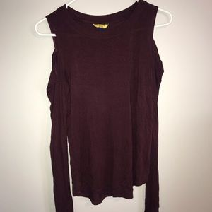 deep burgundy long sleeved cold shoulder shirt